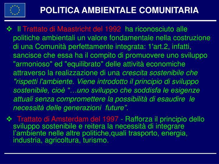 POLITICA AMBIENTALE COMUNITARIA
