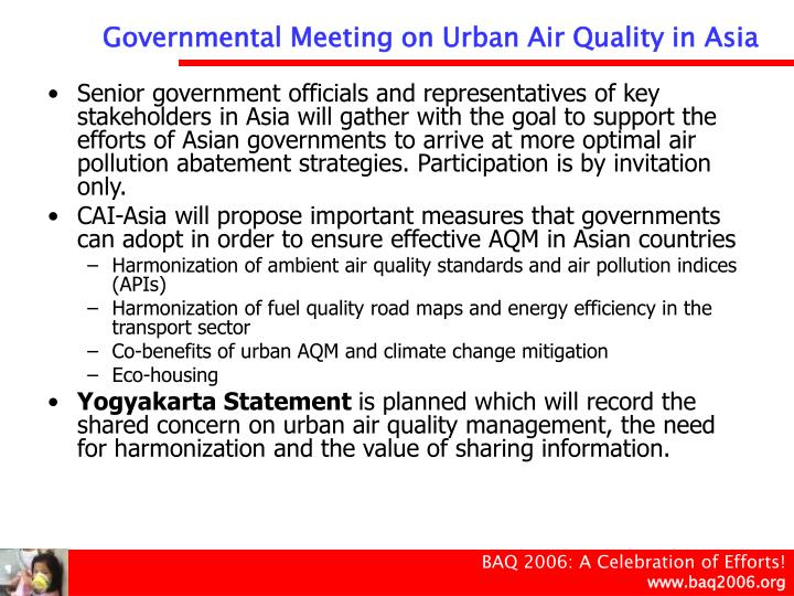 Governmental Meeting on Urban Air Quality in Asia