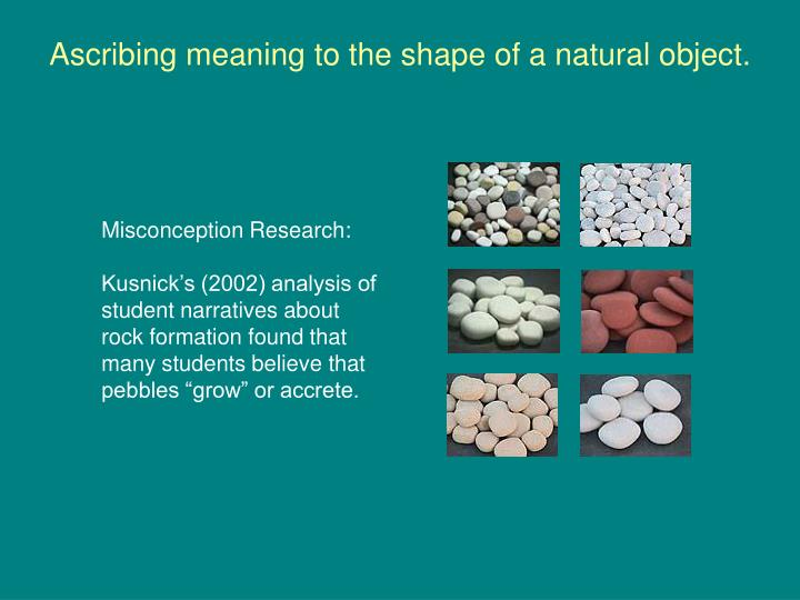 Ascribing meaning to the shape of a natural object.