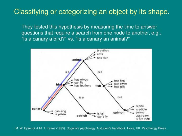 Classifying or categorizing an object by its shape.