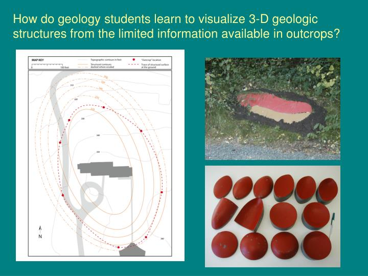 How do geology students learn to visualize 3-D geologic structures from the limited information available in outcrops?