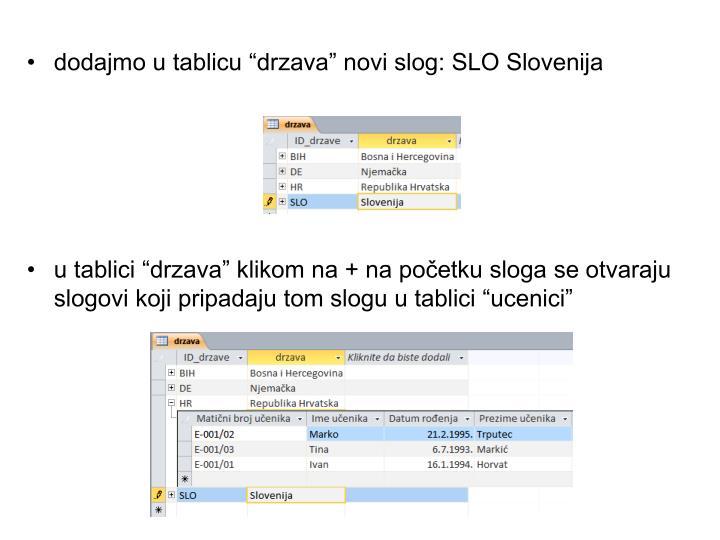 """dodajmo u tablicu """"drzava"""" novi slog: SLO Slovenija"""