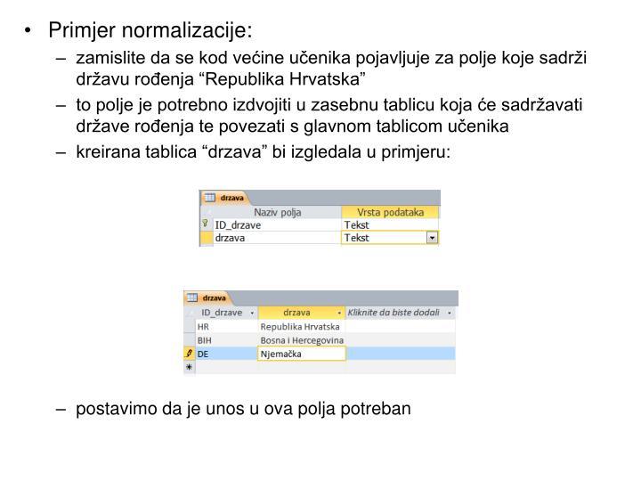 Primjer normalizacije: