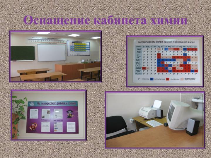 Оснащение кабинета химии