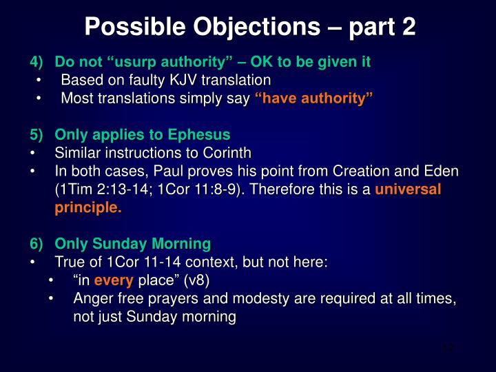 Possible Objections – part 2