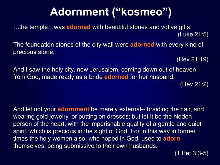 "Adornment (""kosmeo"")"