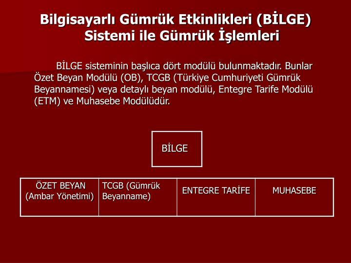 Bilgisayarl Gmrk Etkinlikleri (BLGE) Sistemi ile Gmrk lemleri