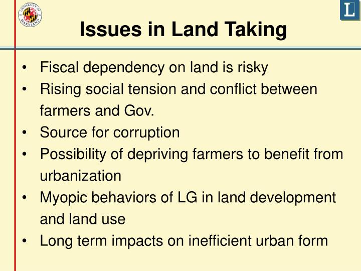 Issues in Land Taking