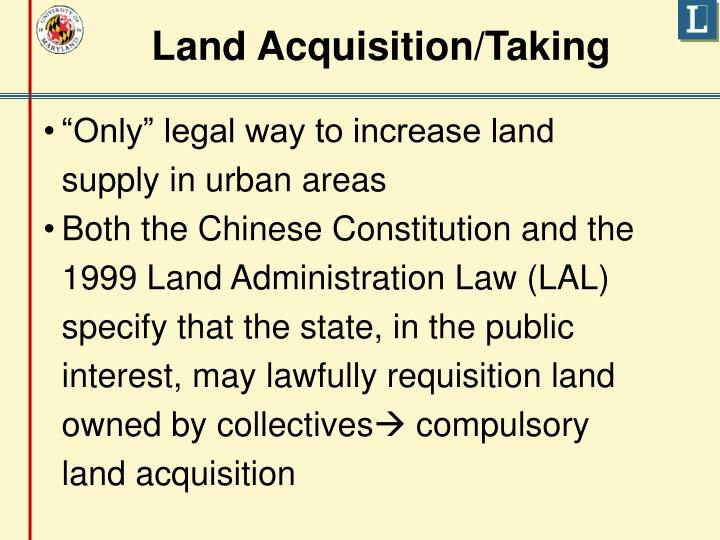 Land Acquisition/Taking
