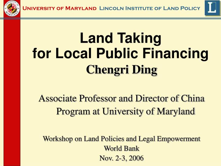Land taking for local public financing