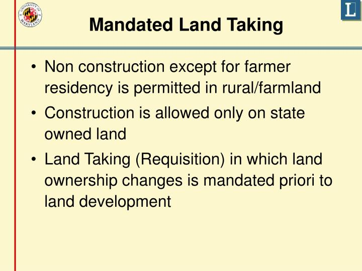 Mandated Land Taking