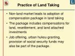 practice of land taking