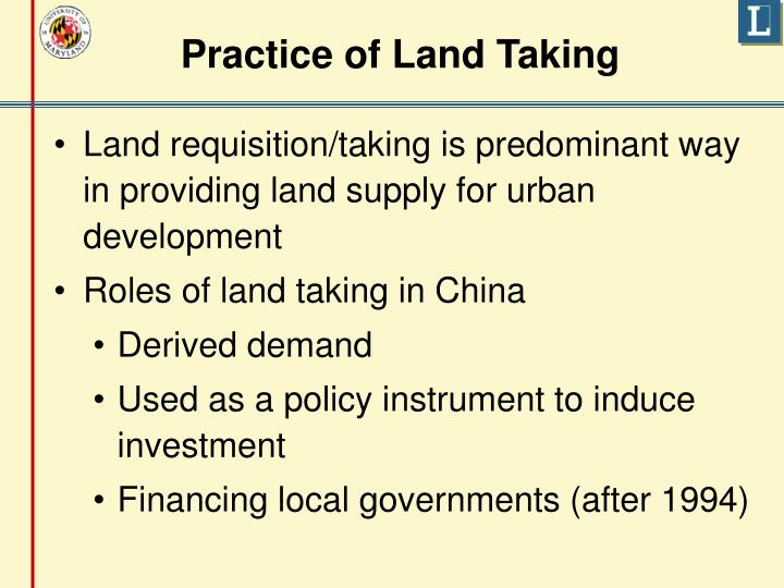 Practice of Land Taking
