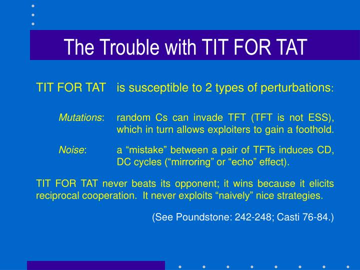 The Trouble with TIT FOR TAT
