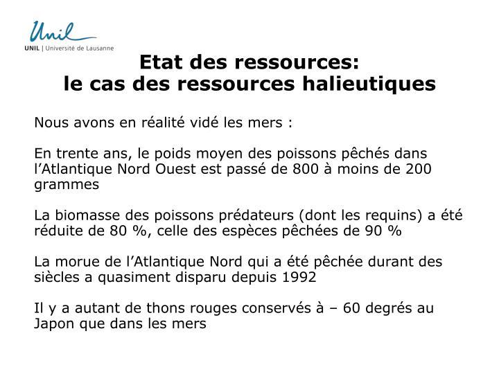Etat des ressources: