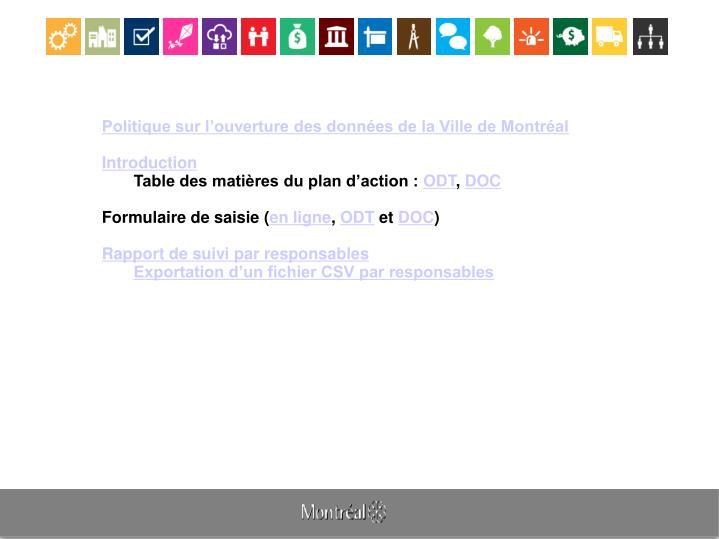 Politique sur l'ouverture des données de la Ville de Montréal
