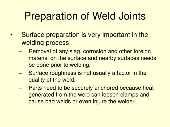 Preparation of Weld Joints