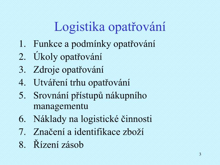 Logistika opatřování