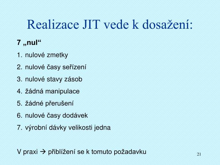 Realizace JIT vede k dosažení: