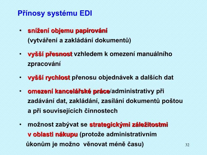 Přínosy systému EDI