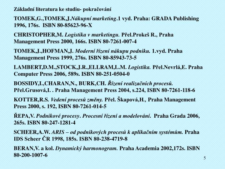Základní literatura ke studiu