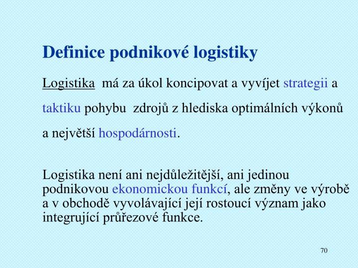 Definice podnikové logistiky