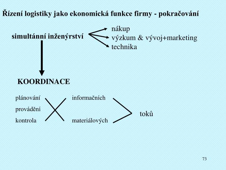 Řízení logistiky jako ekonomická funkce firmy - pokračování