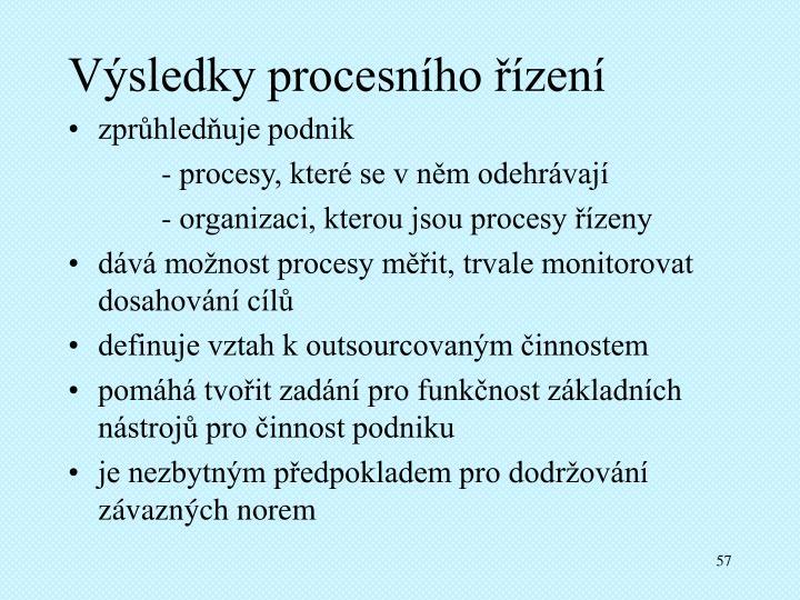 Výsledky procesního řízení