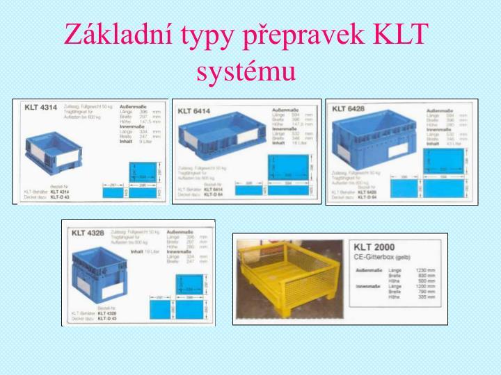 Základní typy přepravek KLT systému