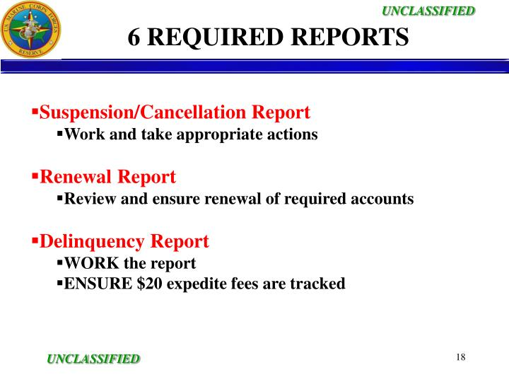 6 REQUIRED REPORTS