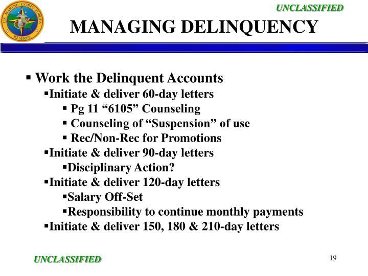 MANAGING DELINQUENCY