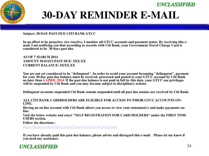 30-DAY REMINDER E-MAIL