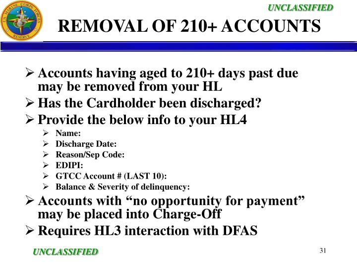 REMOVAL OF 210+ ACCOUNTS