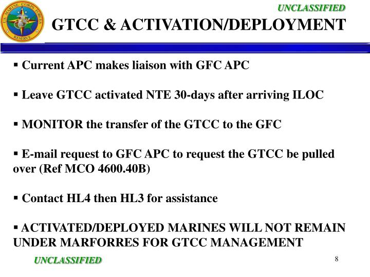 GTCC & ACTIVATION/DEPLOYMENT
