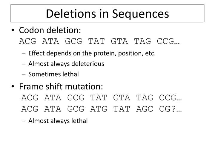 Deletions in Sequences