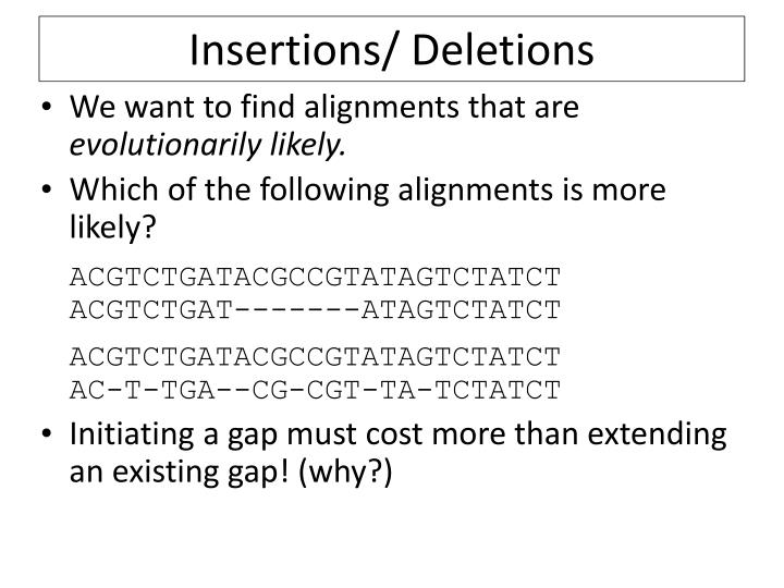 Insertions/ Deletions