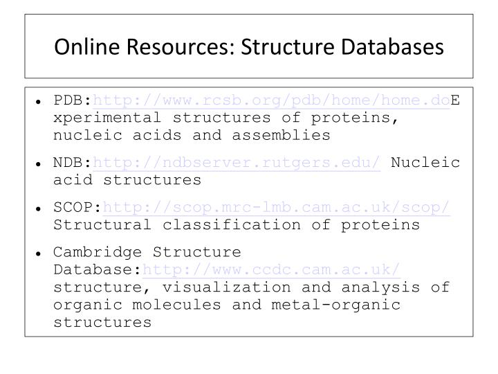 Online Resources: Structure Databases