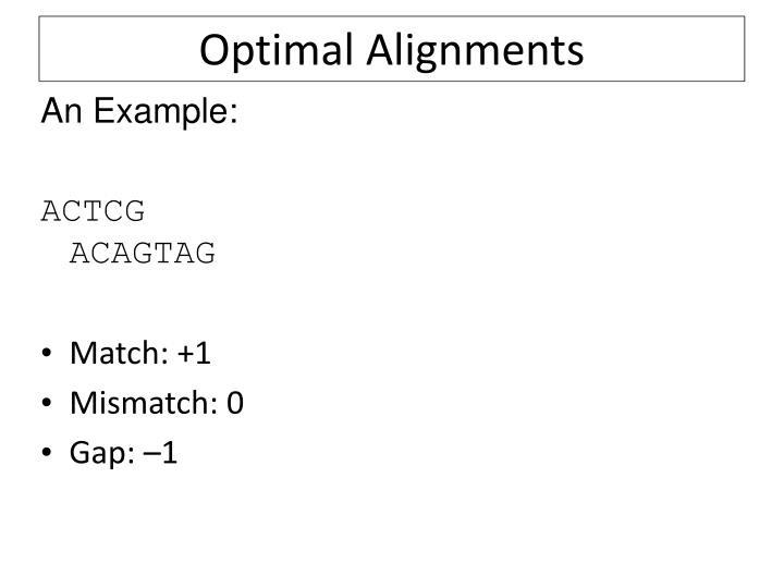 Optimal Alignments