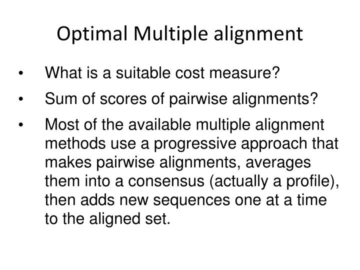 Optimal Multiple alignment