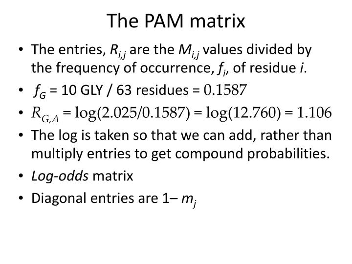 The PAM matrix