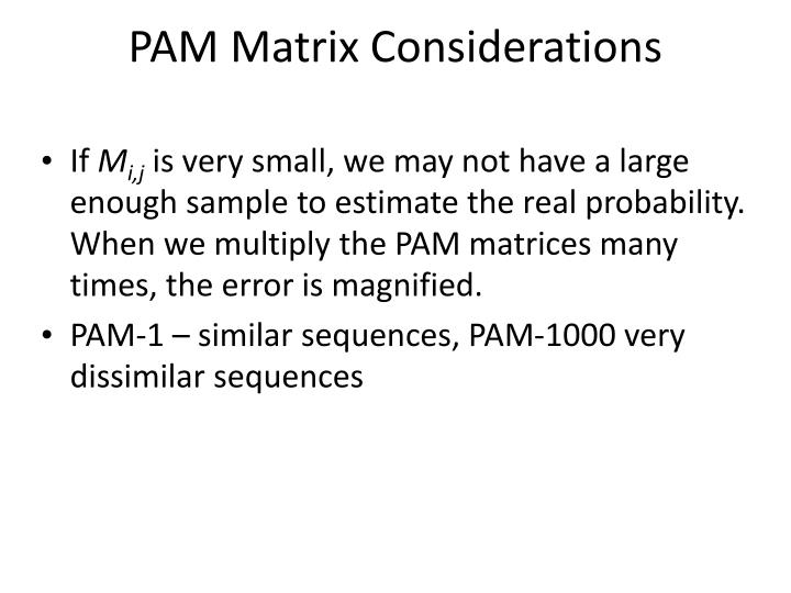PAM Matrix Considerations