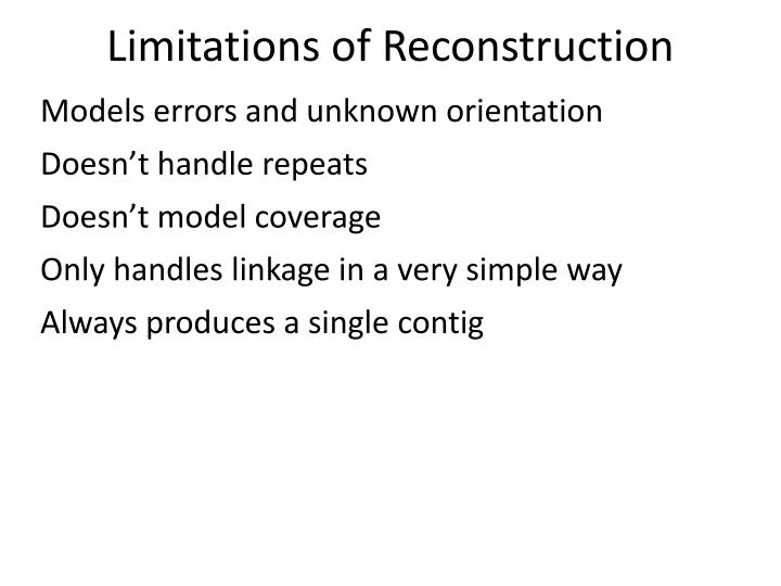 Limitations of Reconstruction