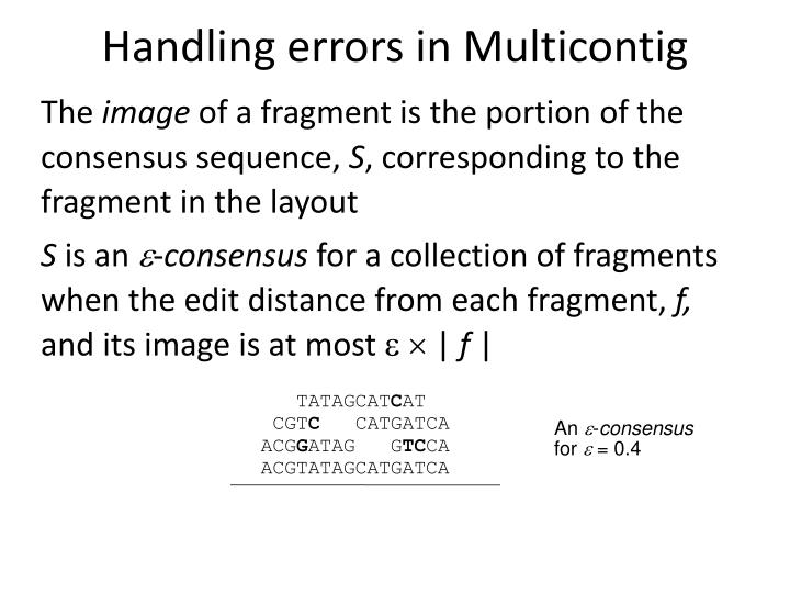 Handling errors in Multicontig