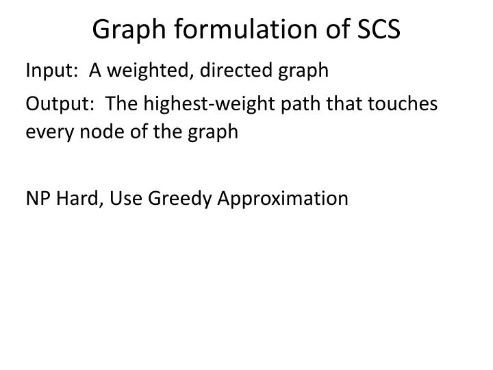 Graph formulation of SCS