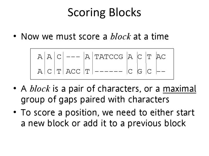 Scoring Blocks