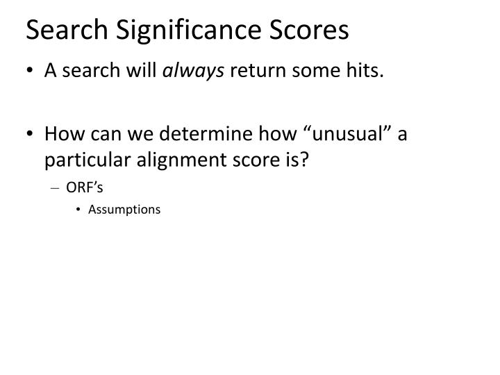 Search Significance Scores