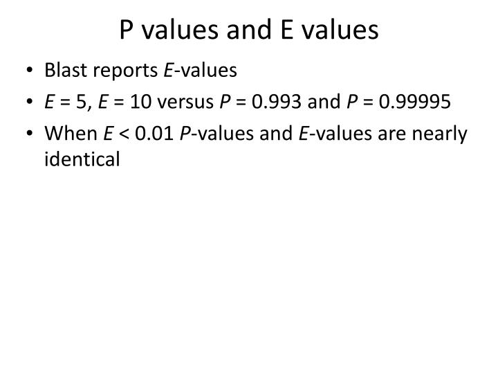 P values and E values