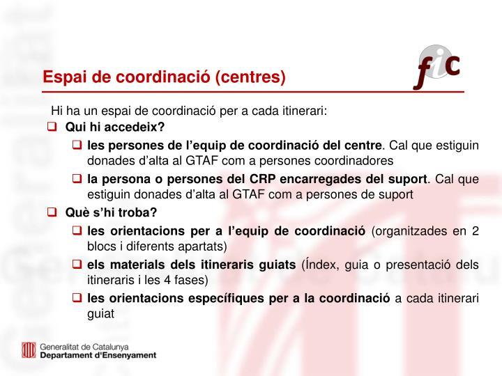 Espai de coordinació (centres)