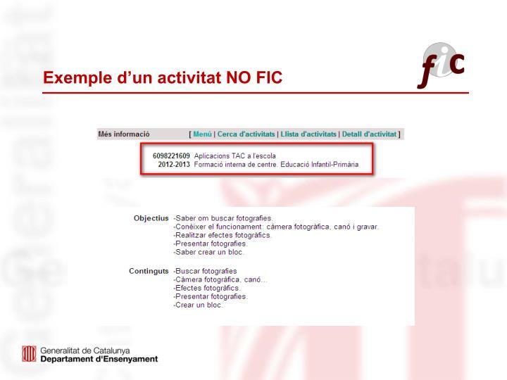 Exemple d'un activitat NO FIC