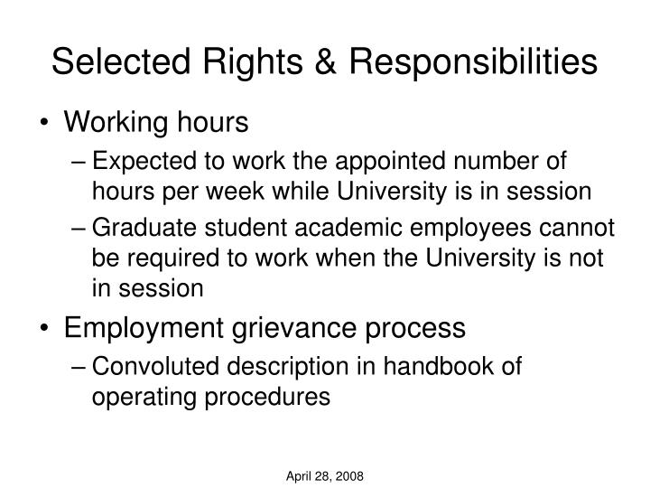 Selected Rights & Responsibilities